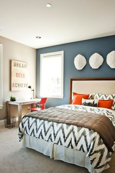 Neutrals with a pop of color!  Love this! Flexible decor. The Best Bedroom Color Ideas