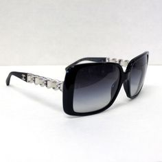 Chanel CHANEL CHAIN COLLECTION Black Quilted 2.55 Silver Sunglasses 5208Q C.501/3C