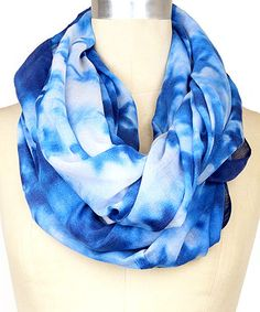 Loving this Cool Blue Tie-Dye Infinity Scarf on #zulily! #zulilyfinds
