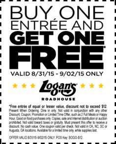 Pinned August 31st: Second entree free at #LogansRoadhouse #coupon via The #Coupons App