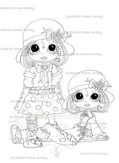 INSTANT DOWNLOAD Digital Digi Stamps Big Eyed Derby by SherriBaldy, $3.00