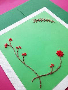 Pinto e Bordo - cartão bordado em papel.  #embroiderypaper #cards #embroidery #paper #crafts #handmade #natal #natale