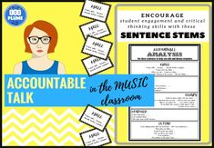 Promote students to critical thinking, analysis and conversational skills in the music class with this accountable analysis/talk set. This set features sentence stems to encourage students to respond to music and each others work. Included in the set is: - Place mat  - Flash cards - Bulletin board display