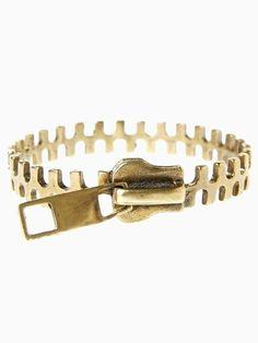 Golden Texture Zipper Shape Bracelet