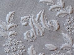 Ems Heart Antique Linens -Antique Linen Monogrammed Italian Embroidered Hanky