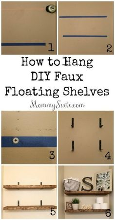 DIY Faux Floating Shelves- Inexpensive and great quality! I want these shelves in every room! The post DIY Faux Floating Shelves- Inexpensive and great quality! I want these shelves i appeared first on Diy. Diy Regal, Floating Shelves Diy, Easy Shelves, Diy Shelving, Decorating With Floating Shelves, Diy Wooden Shelves, Floating Cabinets, Floating Shelf Brackets, Rustic Shelves