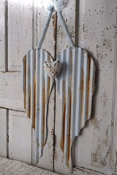 Metal angel wings with heart painted rusty distressed corrugated wing set handmade heart shabby cottage chic home decor anita spero design