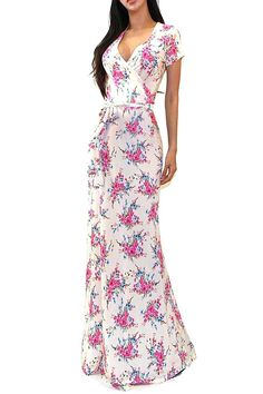 VIVICASTLE Women's Summer Printed V-neck Short Sleeve Wrap Tie Waist Long Maxi Dress (Large, F79, Beige/Coral) at Amazon Women's Clothing store: