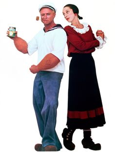 """In his major break-out film role, Robin Williams starred as the title character in the blockbuster hit """"Popeye,"""" along with Shelley Duvall as Olive Oyl in Robin Williams Popeye, Robin Williams Movies, Robin Williams Quotes, Filmstar Party, Popeye Costume, Popeye And Olive Costume, Olive Oil Popeye, I Movie, Movie Stars"""
