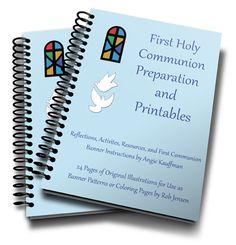Printable 48 page eBook contains reflections on First Communion, 30 Activities to Do While Preparing for First Communion, 24 pages of First Communion banner patterns, and more.