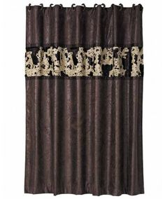 Chocolate Brown Shower Curtain With Cowhide Accent   Western Bath    Housewares