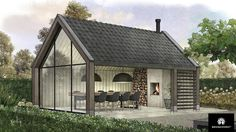 Gable windows and fire place opposite. Same design needed for our house
