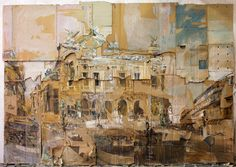 Valery Koshlyakov, Grand Opera, Paris Tempera on cardboard © Valery Koshlyakov, 1995 Image courtesy of the Saatchi Gallery, London Saatchi Gallery, Cardboard Painting, Cardboard Sculpture, Cardboard Boxes, Decay Art, Russian Painting, Russian Art, Building Art, A Level Art
