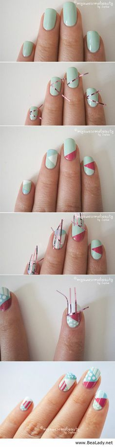 DIY Nail Tutorials With Scotch Tape - not that I could ever do this