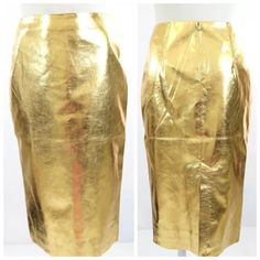 """French Connection Metallic Gold Leatherette  Skirt French Connection gorgeous sold out metallic faux leather pencil skirt.  Size 8 Australia, US Small.  Lined.  Brand new with tags.  Waist 28"""", hips 35"""", length 26"""". ‼️ PRICE FIRM UNLESS BUNDLED WITH OTHER ITEMS FROM MY CLOSET ‼️ French Connection Skirts"""
