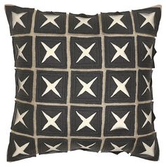 One Kings Lane - High-Contrast Style - Patterned 22x22 Linen Pillow, Gray