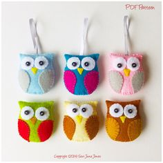 Owl Feltie PDF Sewing Pattern and Tutorial Instant por SewJuneJones Owl Patterns, Easy Sewing Patterns, Felt Owl Pattern, Felt Owls, Owl Ornament, Owl Crafts, Felt Christmas Ornaments, Little Gifts, Handmade Gifts