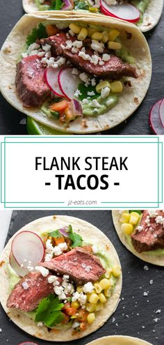 The best Air Fryer Flank Steak Tacos with a simple Jalapeño Lime Marinade that will have you craving more! They're super quick and easy, cook time is less than 30 minutes. #flanksteak #flanksteaktacos #steaktacos #tacorecipes Mexican Food Recipes, Healthy Recipes, Sweets Recipes, Fall Recipes, Flank Steak Tacos, Pasta Recipes, Steak Recipes, Healthy Tacos, Party Dishes