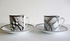 Défi de février 2015 Tasses à café en porcelaine de Limoges psychédéliques