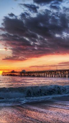 California Beach Dock Sunset #iPhone #6 #plus #Wallpaper