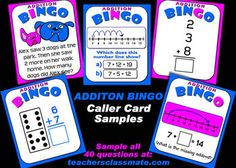 Addition Bingo with Interactive Whiteboard Option. Meets several Common Core Standards for 1st Grade. Use interactive caller to draw question cards and display called answers while the rest of the class play  play along with their own bingo cards. Get thirty cards for three dollars at TpT.