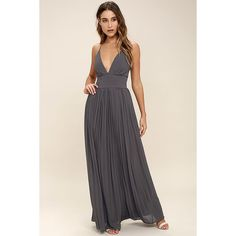 Depths of My Love Slate Grey Maxi Dress ($78) ❤ liked on Polyvore featuring dresses, grey, gray maxi skirt, long pleated skirt, long maxi skirts, chiffon maxi dress and long pleated maxi skirt