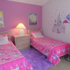Vacation House in Davenport Lakes Girls Room Design, Girl Bedroom Designs, Nursery Design, Twin Girl Bedrooms, Girls Bedroom, Bedroom Wall, Bedroom Decor, Baby Girl Room Decor, Little Girl Rooms