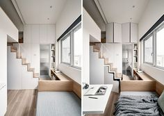 Interior design firm A Little Design, has recently completed the modern renovation of a tiny apartment in Taipei, Taiwan. New Bathroom Designs, Bathroom Design Small, Bathroom Colors, Bathroom Ideas, Modern Small Bathrooms, Amazing Bathrooms, Tiny Apartments, Cupboard Storage, Bathroom Storage