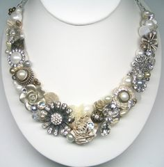 Antique silver and gold Statement Necklace Bridal by BrassBoheme, $130.00