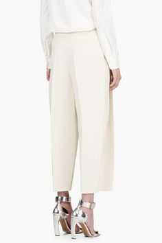 CHLOE Cream CROPPED oversize TROUSERS