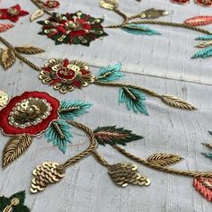 Suruchi Parakh - making of a gorgeous bridal lehenga Zardosi Embroidery, Embroidery On Kurtis, Hand Embroidery Dress, Kurti Embroidery Design, Couture Embroidery, Embroidery Fashion, Hand Embroidery Designs, Beaded Embroidery, Embroidery Patterns