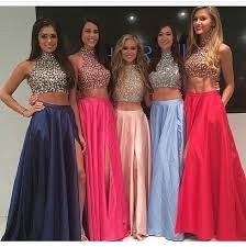 High Neck Two Piece Pink Taffeta Long Prom Dresses 2016 Front Split Mid Section Dark Blue Beadings Sexy Evening Prom Gowns,Showing Navel Formal Women Dresses,Graduation Dress Prom Dresses 2016, Prom Dresses Blue, Pretty Dresses, Beautiful Dresses, Bridesmaid Dresses, Prom Gowns, Dresses Dresses, Coral Dress, Blush Dresses