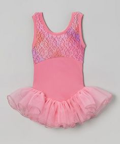 Pink Lace Skirted Leotard - Girls by Butterfly TREASURES #zulily #zulilyfinds
