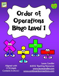 Order of Operations Bingo Level 1 is aligned with the 5th Grade Math Common Core Standards 5.0A.A.1 and includes strategies for reviewing order of operations. Along with the Bingo game, you'll find a review page and teaching suggestions to use as needed. $