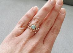 Mint Moissanite and Diamond Victorian Engagement by PenelliBelle