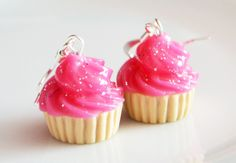 Cupcake Pink Glitter Earrings, Fimo, Polymer Clay £8.00