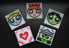 Powerpuff Girls Perler Bead Coaster Set by N3rdAl3rtCrafts