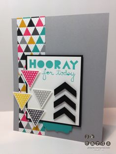 Stampin' Up!, Mojo 327, Geometrical, Kaleidoscope DSP, Deco Labels Collection Framelits, Triangle Punch, Chevron Border Punch