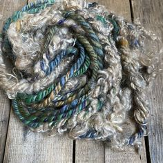 Blue Coral Handspun Bulky Corespun Art Yarn Under Sea White Locks