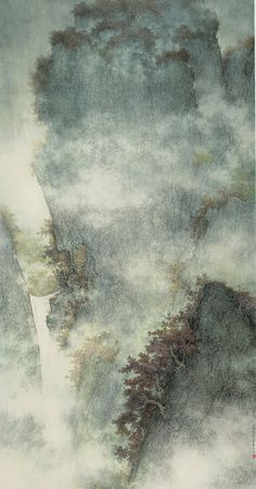Li Huayi(李 華弌 Chinese/American, b.1948)  Waterfall in Ravine  2009  Ink and color on paper