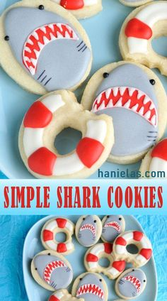 Do you want to make Simple Shark Cookies? No need for special cutters! Easy decorated shark cookies are perfect for last minute cookie decorating projects. Summer Cookies, Fancy Cookies, Iced Cookies, Cut Out Cookies, Cute Cookies, Christmas Cookies, Cupcakes, Cupcake Cookies, Shark Cookies