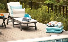 #Trex Outdoor Furniture Yacht Club collection chaise lounge in Stepping Stone with @Sunbrella cushions in Bird's Eye.