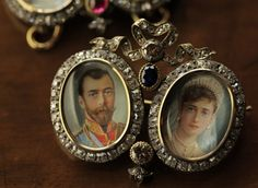 Portrait miniatures of Tsar Nicholas II & Tsarina Alexandra Feodorovna surrounded by diamonds in a double frame by Fabergé, circa 1880s. Photo courtesy of Patrick Mark/Arts Alliance