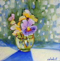 pansies, oil on canvas, 8 x 8 inches. ©2011 Kristina Wentzell
