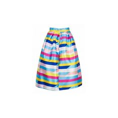 Choies Multicolor Stripe High Waist Midi Skirt (€24) ❤ liked on Polyvore featuring skirts, multicolor skirt, high-waisted skirts, mid calf skirts, high-waist skirt and high waisted knee length skirt