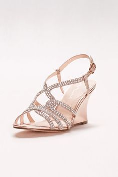 Embellished Strappy Wedge Sandals - Rose Gold, 6.5 Women's
