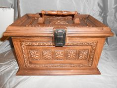 Vintage Max Klein Plastice Wood Look Sewing Box W/Insert and Handle