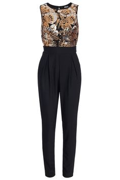 Pop Couture - BLINQ GOLD SILVER FLORAL SEQUIN JUMPSUIT BLACK, £38.99 (http://www.popcouture.co.uk/new-in/blinq-gold-silver-floral-sequin-jumpsuit-black/)