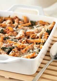 Three-Cheese Chicken Penne Pasta Bake — Hundreds of people can't be wrong. Check out this creamy, cheesy, hearty casserole that sports a solid 5 stars for deliciousness as well as smarts.