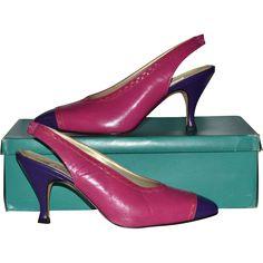 54c816c21cc 1980s Bandolino ~ Pink   Purple Color Block SIingback Heels w  Box